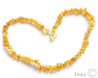 Raw Unpolished Baltic Amber Baby Teething Necklace Honey Color Beads