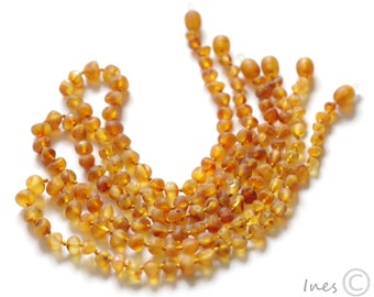 Baltic Amber Baby Teething Necklace. Raw Unpolished Amber Beads