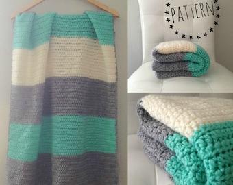 Blue and White Chevron Baby Blanket Modern Crochet Afghan