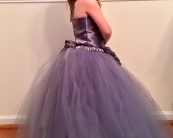 Flower Girl Tutu Dress Floor Length Sewn Tutu Dress Charcoal Gray and Satin Flower Hair Clip CUSTOMIZABLE