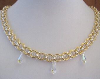 Chainmaille Swarovski Crystal Necklace Bracelet Earrings Set