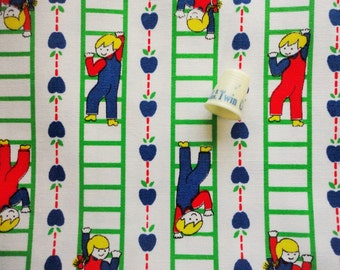 children climbing laddersnovelty print vintage cotton duck fabric -- 46 wide by 2 yards