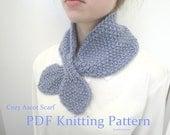 Cozy Ascot Scarf, PDF Knitting Pattern, Quick & Easy, Chunky Yarn, Neck Warmer