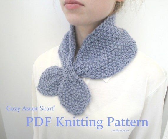 Knitting Pattern Ascot Scarf : Items similar to Cozy Ascot Scarf, PDF Knitting Pattern, Quick & Easy, Ch...