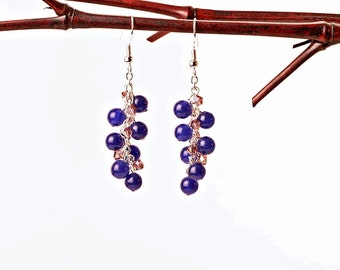 Silver Dangle Cascade Earrings with Blue Aventurine and Purple Glass Bicones