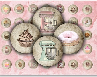 "Digital Images - Digital Collage Sheet Download - Cupcakes 1"" Circles -  906   for Jewelry Pendants - Instant Download Printables"