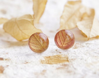 Autumn leaf stud earrings - 925 sterling silver post - yellow orange resin handmade jewelry - Rose falling leaves