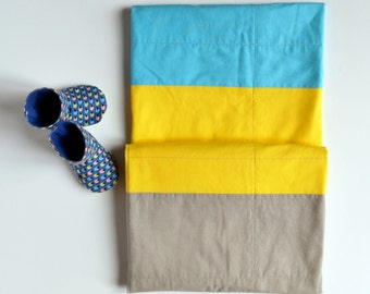 Modern Baby Blanket, Blue and Yellow Baby Blanket, Color Block, Receiving Blanket