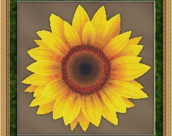 Cross Stitch Pattern Sunflower Design Instant Download Pdf Beautiful Big Flower Sunshine Floral Garden Design