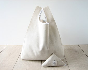 shopping bag / shabby chic tote / beige cotton shopper / minimalist bag / folded bag in a triangle / edge in white ribbon / valentines gift