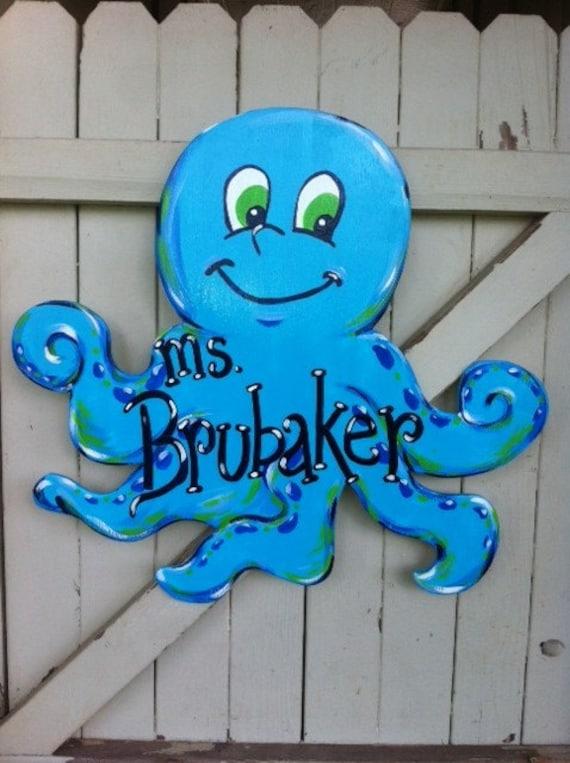 Classroom Ideas For Under The Sea ~ Octopus under the sea theme classroom teacher sign door hanger
