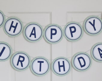 WHALE OF A TALE Baby Shower or Birthday Banner Green Navy - Party Packs Available