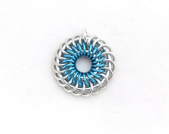 Blue Chain Maille Pendant, Jump Ring Jewelry, Blue Pendant, Aluminum Jewelry