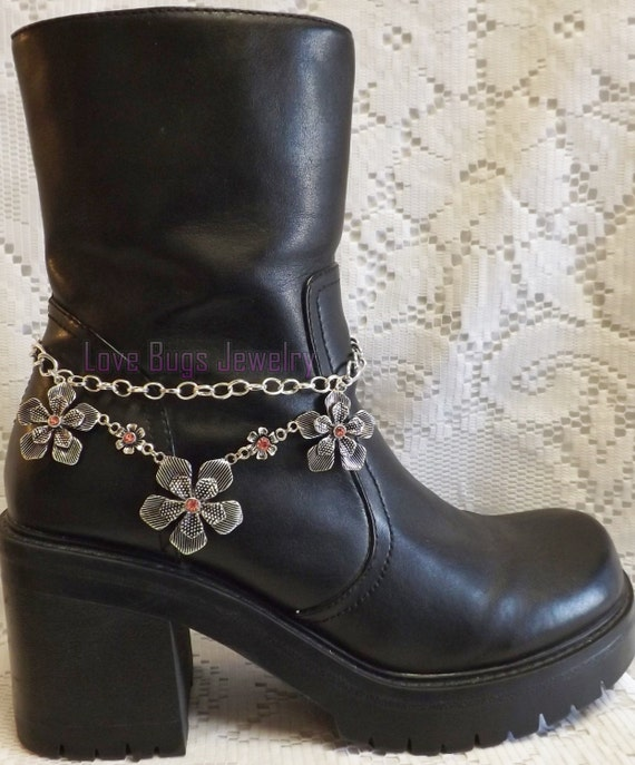 pink flowers boot jewelry boot bracelet boot bling boot