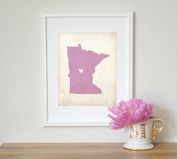 Minnesota Love State Map Personalized Art 8x10 Print.