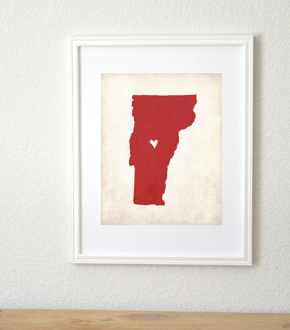 Vermont Rustic State Map. Personalized Vermont Art. Wedding Art. Wedding Gift. Love Map Art. Personalized State Art. 8x10 Art Print.