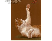 ACEO Cat and Butterfly, Archival Art Print, SFA, Small Format Art, Pastel Cat Art Print, Cat Drawing, Cat Artist Trading Card, ADA-P244
