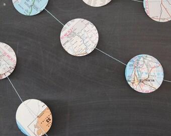 vintage maps dots garland