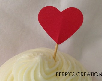 Mini Red Heart Cupcake Topper. 20 pieces