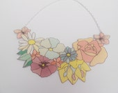 Flower Bouquet Collar Necklace Felt Floral Necklace Gold or Silver
