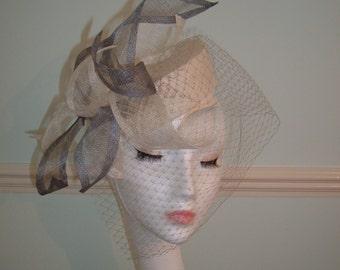 Ivory/Grey Sinamay Pillbox Hat - Sinamay Petal & Grey Veiling - Handblocked