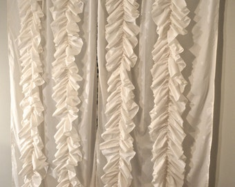 Drifting Ruffle Curtain - Vertical Ruffle Window Curtain Panel