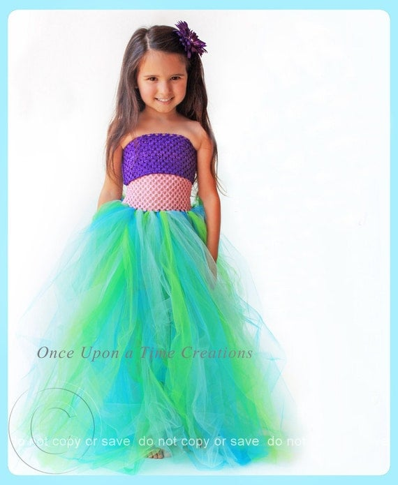 Ready To Ship - Mermaid Princess Tutu Dress - Birthday Outfit, Photo Prop, Halloween Costume - 6 12 18 Months 2T 3T 4T 5T 6 7 8 10 12