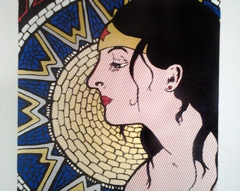 Wonder Woman Pop Art handpulled silkscreen print