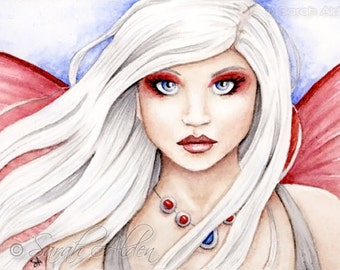 ACEO Fairy Art Fantasy Print Portrait Ruby and Sapphire Watercolor Painting - Sarah Alden