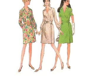 McCall's 9236 Sewing Pattern Vintage Retro 60s 70s Classic Style Wrap Dress V Neck Casual Party Cocktail Dress Bust 32