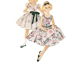 McCall's 5264 Sewing Pattern 50s Girls Party Tea Garden Dress Rockabilly Vintage Style Full Circle Skirt Peter Pan Collar Bust 32