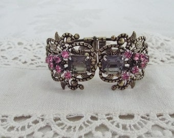 Filgree, Victorian Style, Filigree Bracelet With Vintage Upcycled Jewelry, Black, Pink Rhinestones