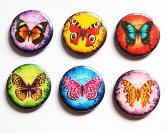 Butterfly Magnets, Butterflies, Nature Magnets, button magnets, Fridge Magnets, Kitchen Magnets, magnet set, stocking stuffer (3256)