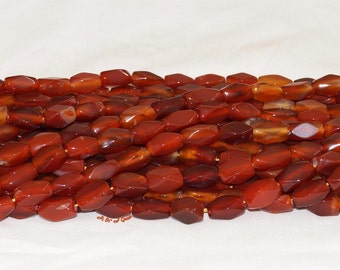 """Carnelian 8x15mm Rectangle Faceted Gemstone Bead - 15.5"""" Strand"""