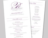 Pretty Script Printable Wedding Program Fan - DIY Ceremony Program Fan - Classic, Elegant, Purple, Gray, Silver