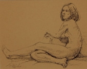 "Life Drawing Figure Study Female Nude Ink   8 X 10 "" Double Matted 11X14"" No.160"