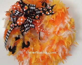 Halloween Wreath, Witch Boot Wreath, Candy Corn Wreath, Halloween Feather Wreath, Halloween Door Hanger, Halloween Door Decor, Halloween