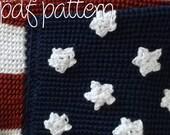 PDF Crochet Pattern - Intermediate - American Flag Afghan Blanket Throw
