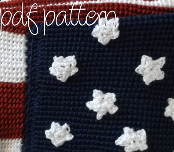 Crochet Patterns Intermediate : PDF Crochet Pattern - Intermediate - American Flag Afghan Blanket ...