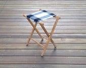 Vintage Camp Stool - Wool Seat - Plaid Camp Black White Geometric