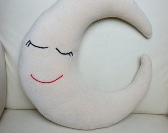 Moon Pillow, Moon Pillow Fleece Fabric, Christmas Gift, Kids Room Pillow, Handmade Pillow, Nursery, Pillow Baby Gift, Baby Shower Gift