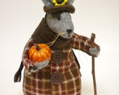 Thanksgiving Mouse, Primitive Mice, Holiday Mouse, Fall Autumn Mouse, Mouse Soft Sculpture