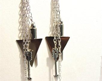 Katniss Bow and Arrow Earrings, Edgy Jewelry, Silver Spike, dangly sterling silver Arrow Earrings