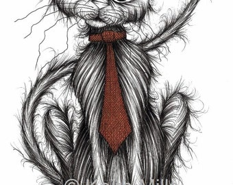 Cool cat Print download Trendy kitty with long tail in fashionable neck tie who thinks he's a very special and important pussycat