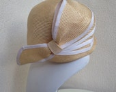 Modern Millie straw hat Vintage 1960 with cap capulet style fit and large side bow