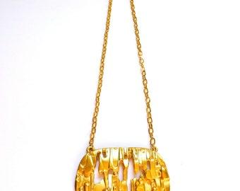Trifari Brutalist Gold Pendant Necklace