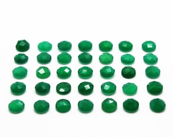 GCF-1031 - Green Onyx Cabochon - 6mm Round - Gemstone Cabochon - Faceted Cabochon - Pack Of 4 Pcs