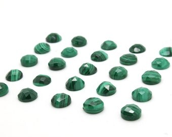 GCF-1128 - Malachite Faceted Cabochon - Round 10mm - Gemstone Cabochon - AA Quality - 1 Pc