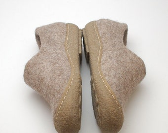 Felted wool clogs with rubber toes - natural cappuchino organic wool booties with rubber soles