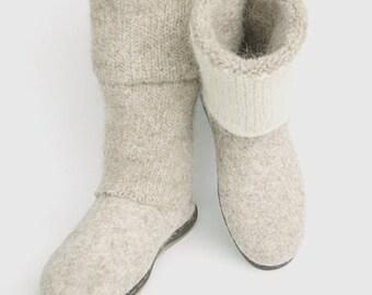 Felt boots - beige shoes - beige felt winter boots large sizes - mens boots